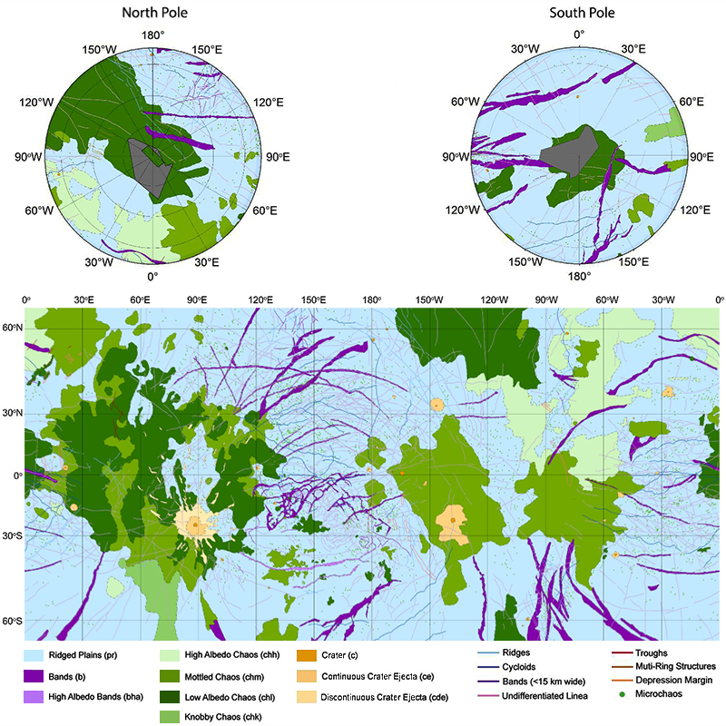 Geologic Map Of Europa Highlights Targets For Future Exploration Eos - Europa map