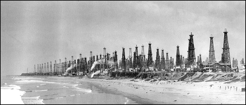 Oil wells line the Huntington Beach shoreline in southern California in 1926.
