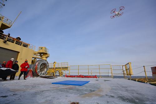 Drone explores the ice.