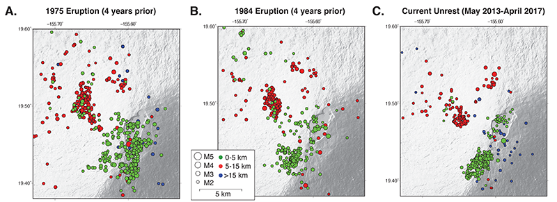 Earthquake epicenters for the 4 years prior to the 1975 and 1984 eruptions and the latest 4 years of unrest.