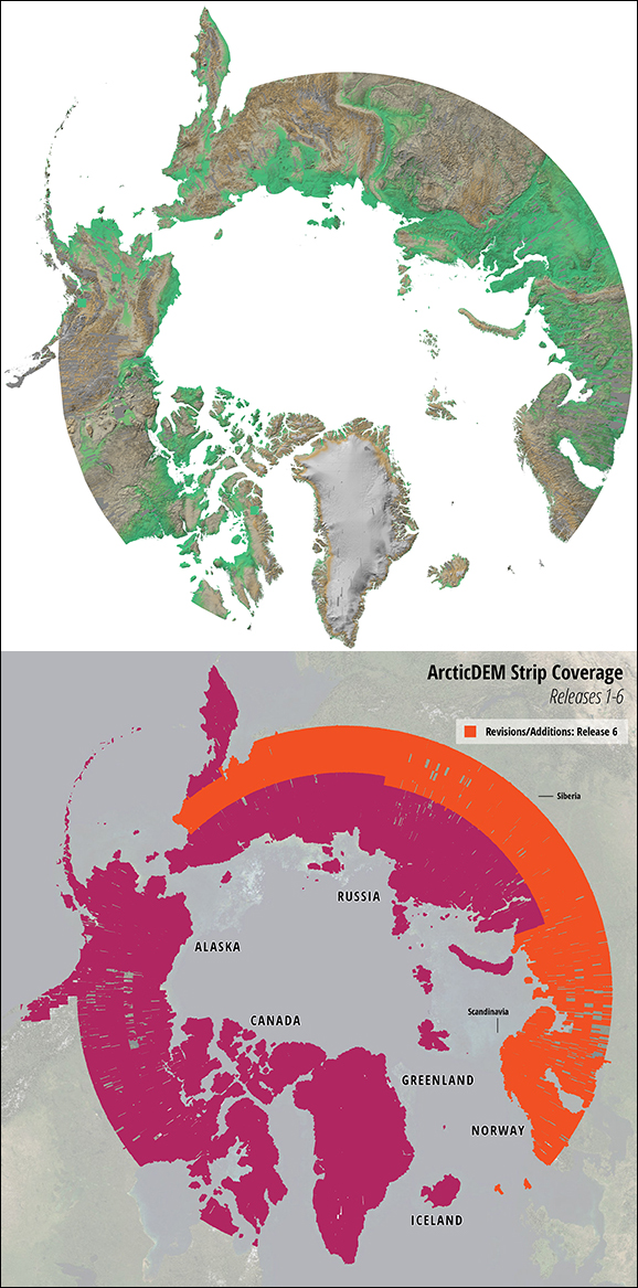 The newly released Arctic digital elevation model, or DEM, depicts 97.4% of the region's terrain. Colors show elevation: green for near sea level, brown for higher topography such as mountains, and white for the highest-altitude areas, such as the Greenland ice sheet