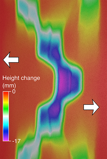 Numerical model of an extensional rift system produced this elevation map of surface features.