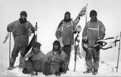 Image of Scott's South Pole party taken on 18 January 1912.
