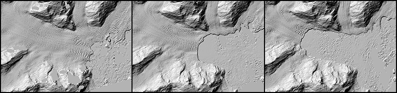 A time series (left to right) of images of the West Branch of the Columbia Glacier in Alaska, showing the glacier's retreat from 2010 to 2015.