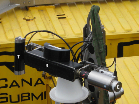 COVIS sonar transducers, transmitter and receiving array, and elevation motor.