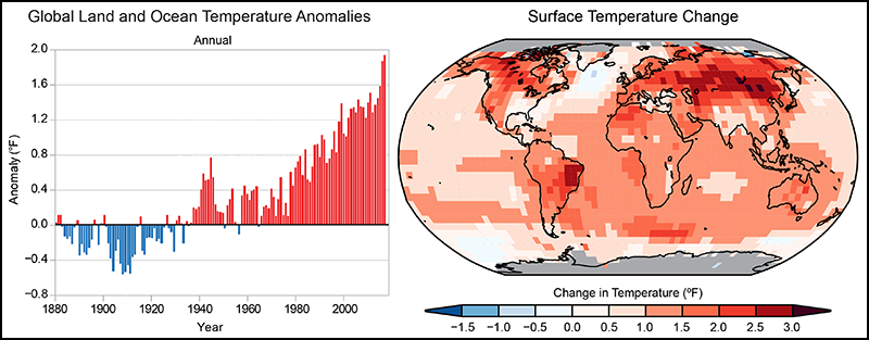 Global annual average temperature has increased by more than 1.2°F (0.7°C) for the period 1986–2016 relative to 1901–1960.