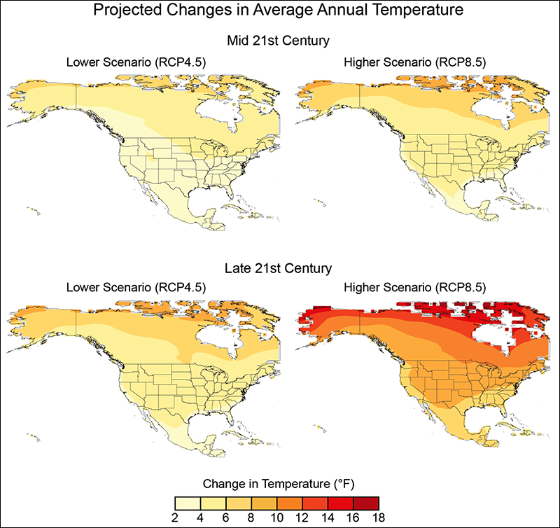 Projected changes in average annual temperatures under two RCPs in the Intergovernmental Panel on Climate Change's AR5.