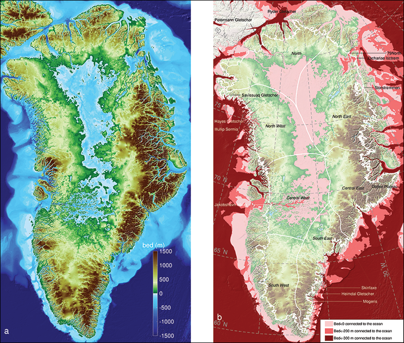 Greenland coastal seafloor and bedrock map
