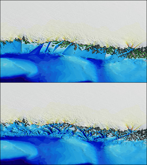 Greenland coastline before and after