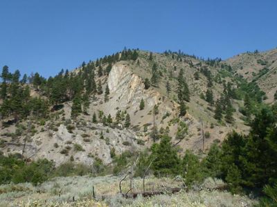 Spencer Canyon landslide destroyed fault scarp