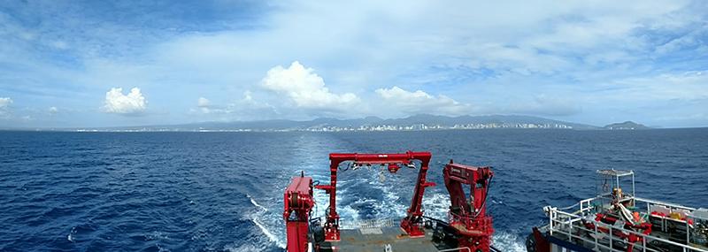 The R/V Sikuliaq nears its destination after its transit from Honolulu, Hawaii to San Diego, California.