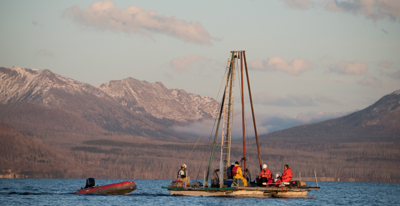 HD-YLAKE scientists aboard the Kullenberg corer, on their way to a Yellowstone Lake coring site.