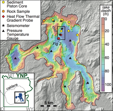 Area map shows instrument deployment and sample sites in Yellowstone Lake from the 2016 field season.