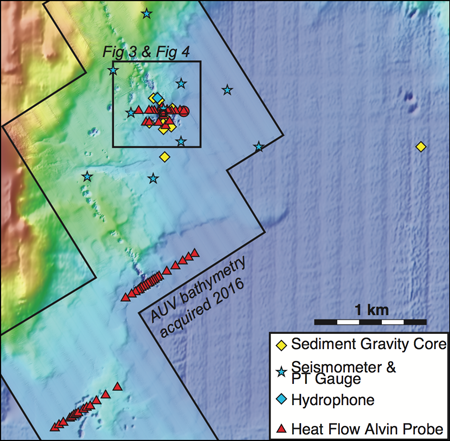 Area map shows instrument deployment and sample sites in Yellowstone Lake.
