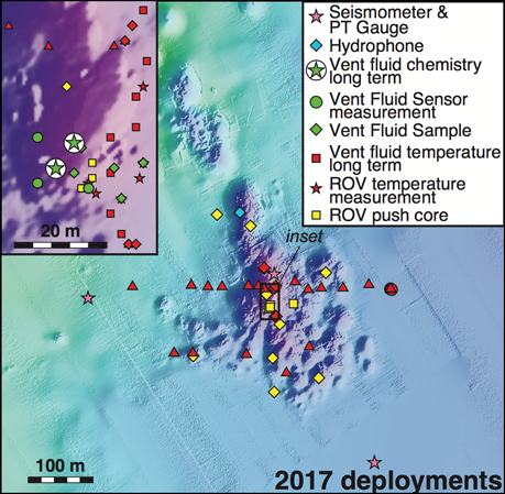 Area map shows instrument deployment and sample sites in Yellowstone Lake from the 2017 field season.