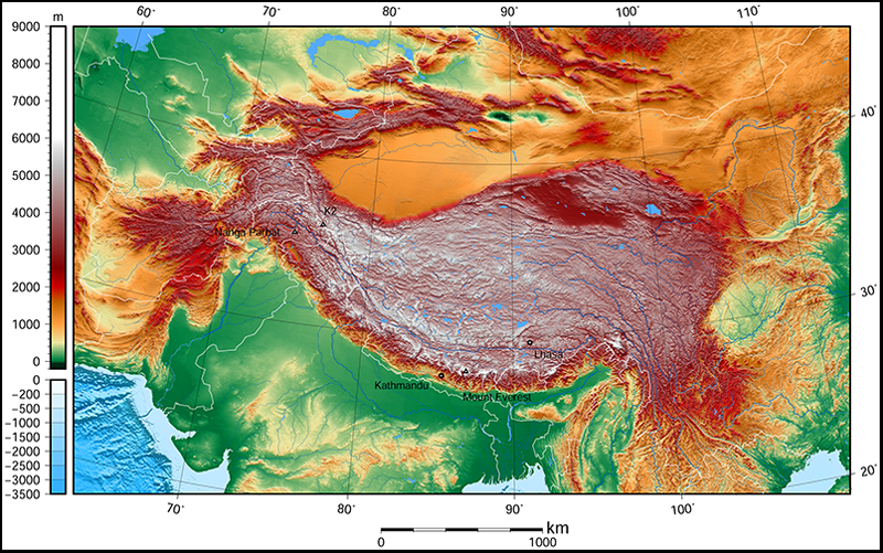 Modern elevation map of Tibetan Plateau