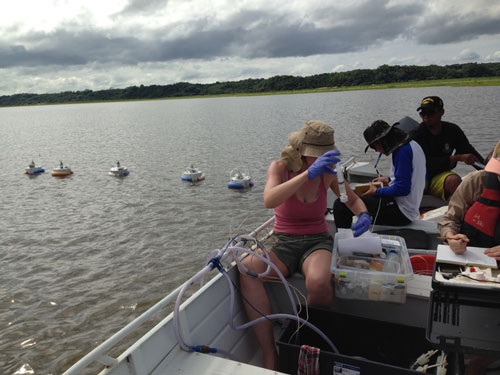 The TROCAS team measures gas fluxes and geochemical parameters in the Lago Grande do Curuaí in February 2016.