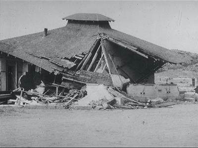 Earthquake-damaged school