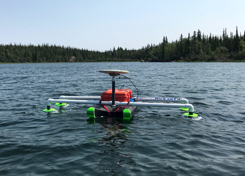 A GPS drifter system floats in Hidden Lake, in Canada's Northwest Territories.