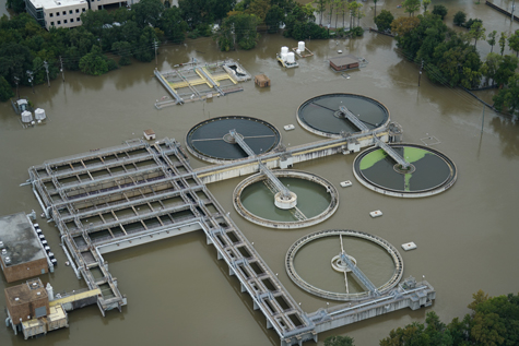 A wastewater treatment plant in Houston, Texas, that flooded during Hurricane Harvey.