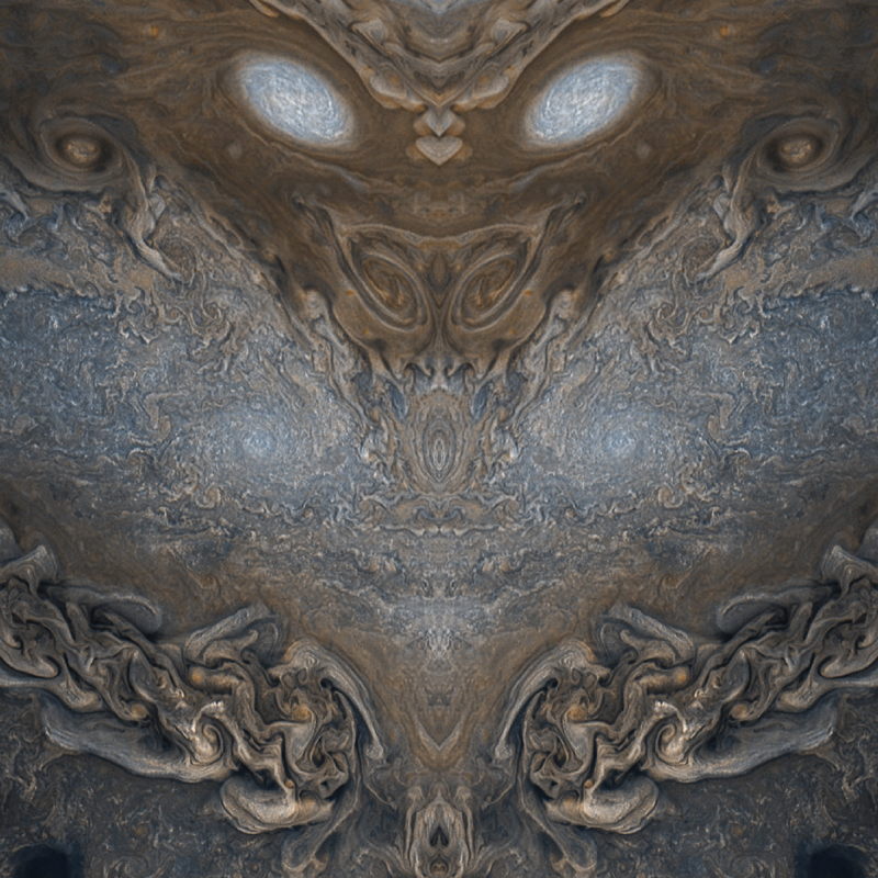 A dragon face, rendered from JunoCam images of Jupiter.