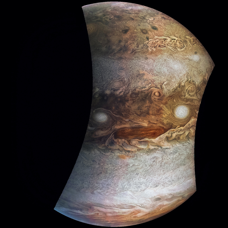 Jovey McJupiterface, a rendition of a JunoCam image, stares back at you.