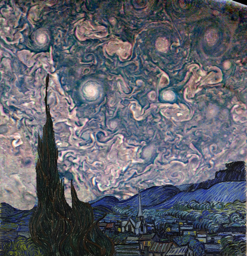 A rendition of Van Gogh's Starry Night with JunoCam images of Jupiter's atmosphere as the background.