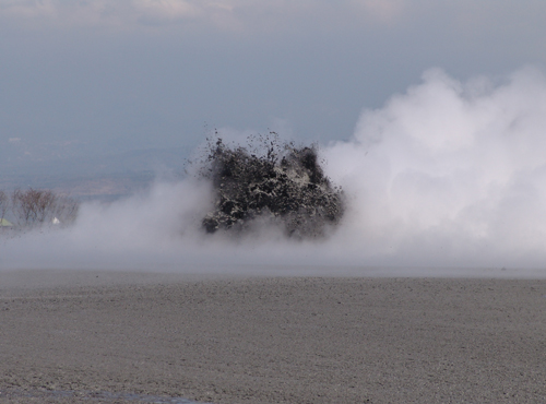 The Lusi eruption spewed boiling mud tens of meters high during one of the active geysering phases in September 2006.