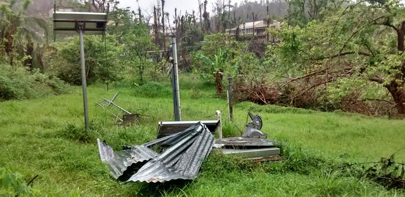 Hurricane-damaged solar panel in Puerto Rico