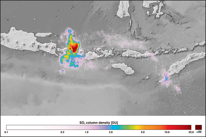 Sulfur dioxide from the eruption of Mount Agung on Bali, Indonesia, detected by the new satellite on 27 November 2017.