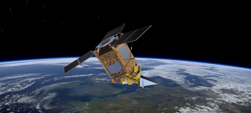 Artist's concept of the Sentinel-5P satellite in orbit.