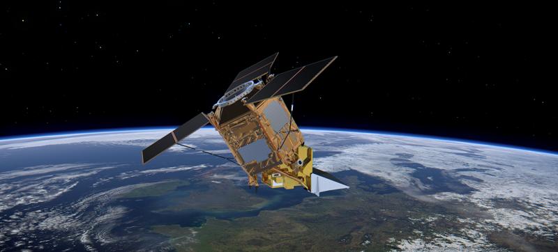 Artist's concept of the Sentinel-5P satellite in orbit.