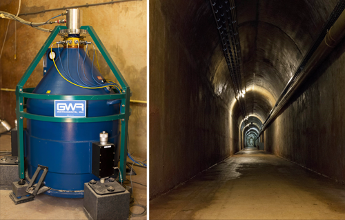 The superconducting gravimeter resides underground in the Membach station in eastern Belgium.