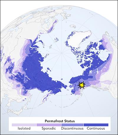 Map of Arctic permafrost regions