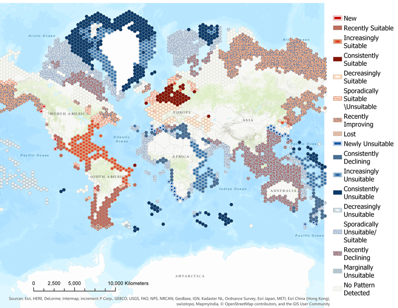 A map shows how, over a 2°C increase in ocean temperature, the suitability of areas to be seagrass habitats will change.