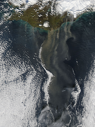 Ash and silt over Iceland