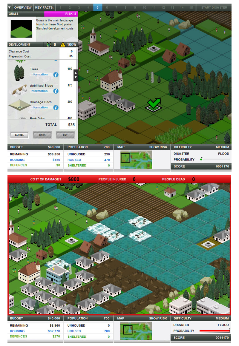 Flood preparation scenario from the computer simulation game Stop Disasters!