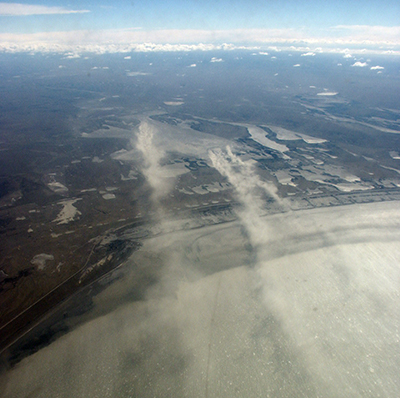 Dust cloud over San Sebastian Bay in Argentina