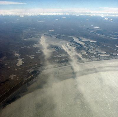Dust cloud over San Sebastian Bay in Argentina