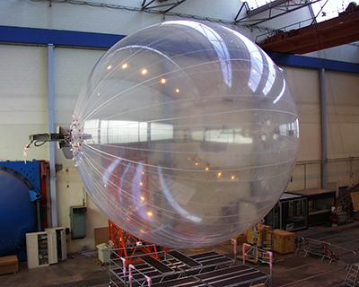 A fully inflated superpressure balloon in the lab at the French Space Agency (CNES)