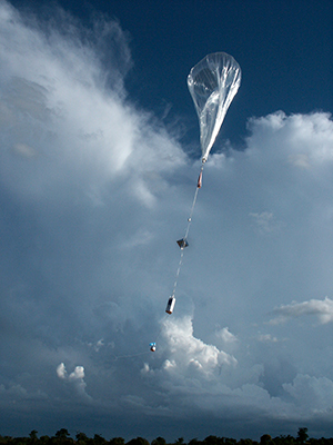 This superpressure balloon, shown here at launch, is not fully inflated.