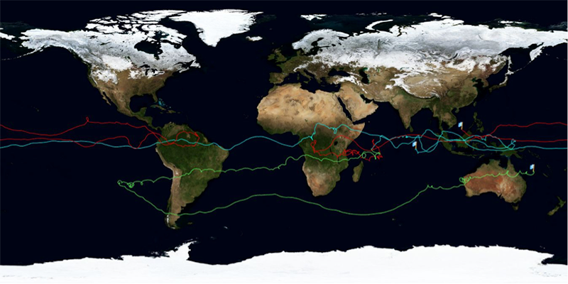 Early test flights of the French Space Agency superpressure balloon system during 2010 followed a tropical route.