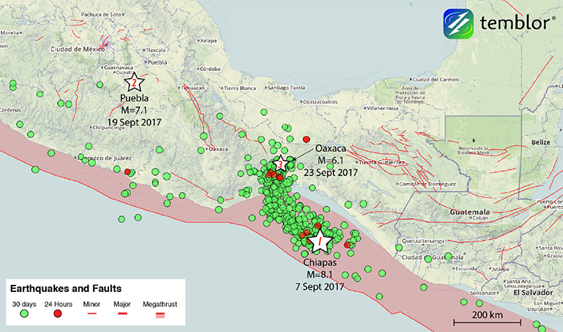 A map shows 3 major earthquakes that struck Mexico in September 2017, other recent quakes, and selected fault zones/lines.