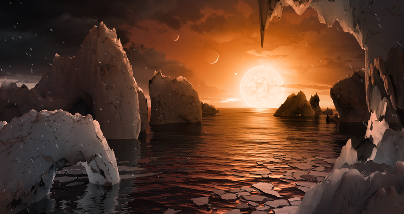 An artist's conception of the surface of a TRAPPIST-1 planet.