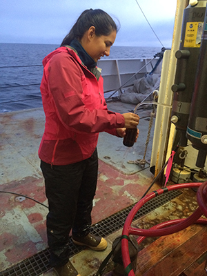Nancy Williams samples seawater from below the surface of the Chukchi Sea of the Arctic Ocean off the coast of Alaska.