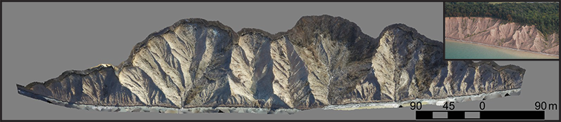 A 3-D model produced using SfM photogrammetry obtained at Chimney Bluffs State Park in New York.