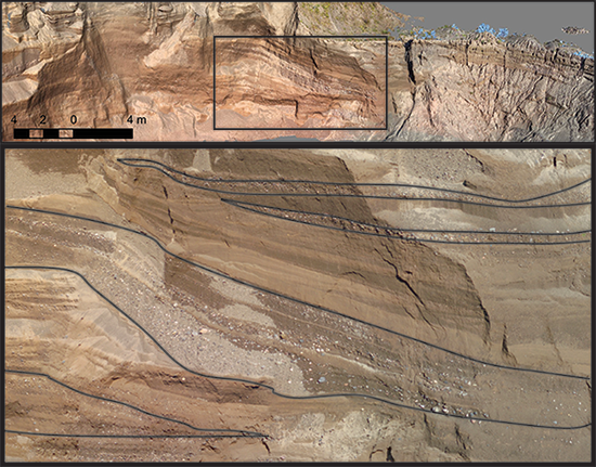 SfM image of a quarry face, Pleistocene glacial outwash fan, Otisco, N.Y.