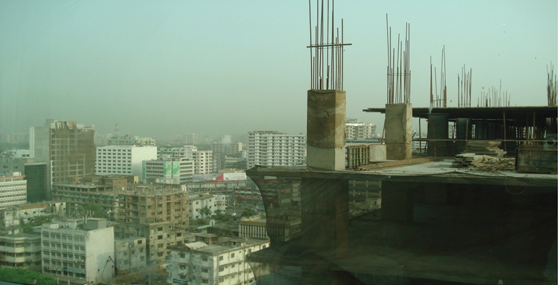 Typical skyscrapers in Dhaka, Bangladesh, are not constructed to resist earthquake damage.