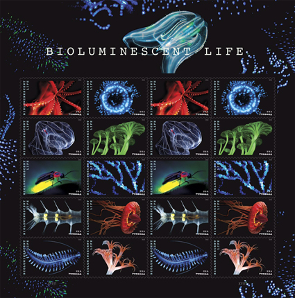 Full panel of bioluminescent USPS stamps