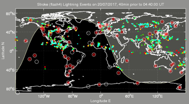 WWLLN lightning strokes are shown as colored dots for 20 July 2017.